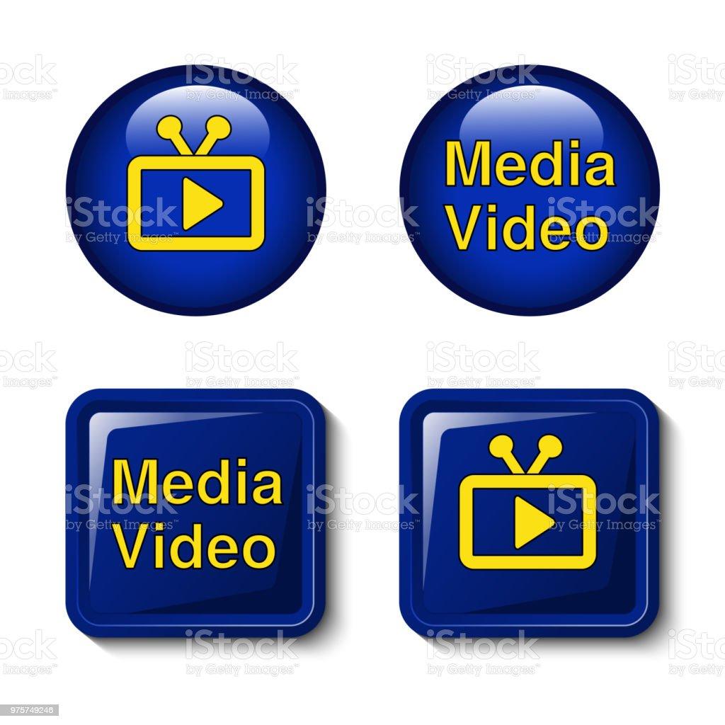 Vektor-video-Medien-Icons für TV-Bildschirm - Tasten - Lizenzfrei Ausrüstung und Geräte Vektorgrafik