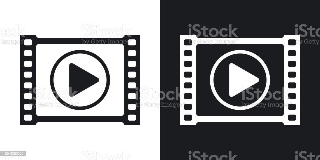Icône de vecteur de lecteur vidéo. Version bicolore sur fond noir et blanc - Illustration vectorielle