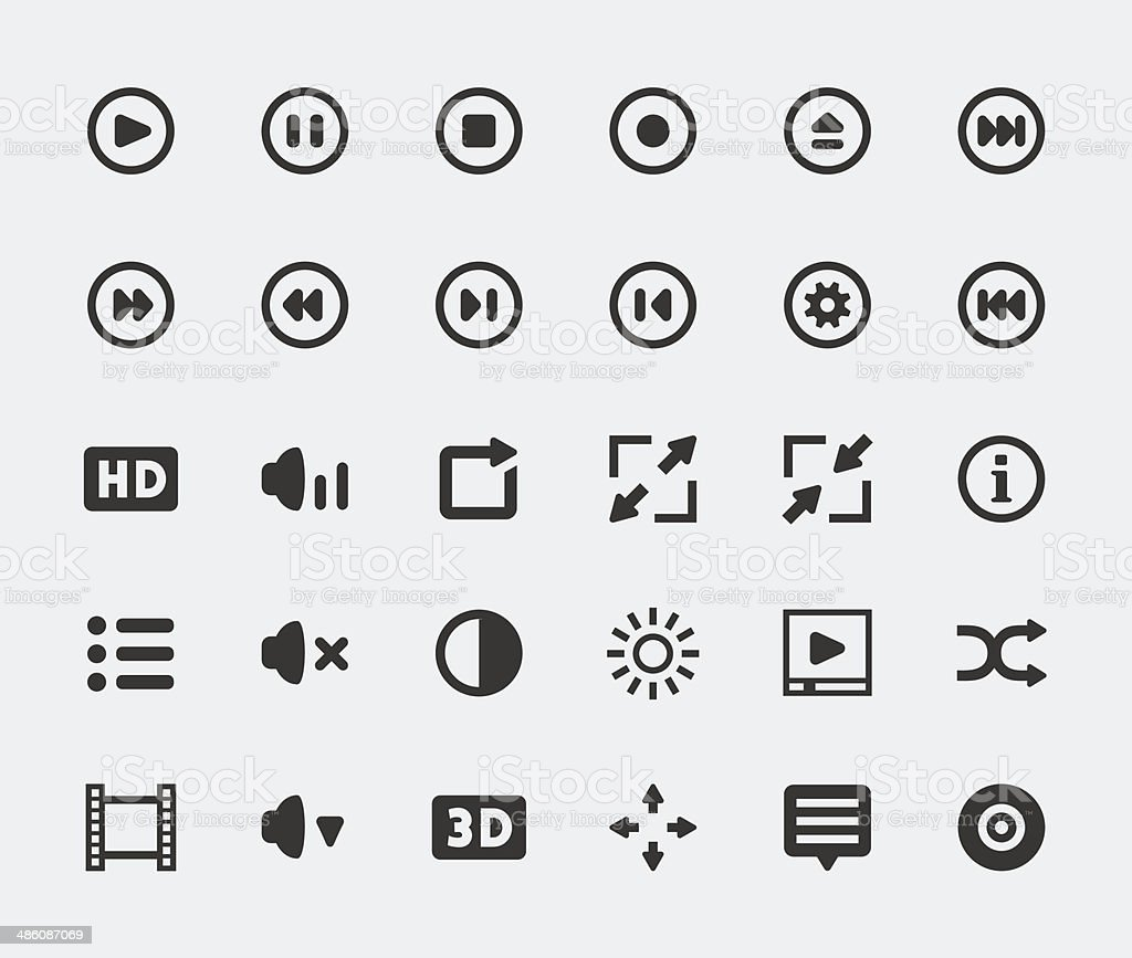 Vector video player mini icons set vector art illustration