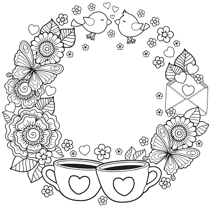 Vector vignette round shape for Coloring book for adult. Black line art on white background. Abstract doodle flowers, key, lock, letter, butterfly and message. I love you and tee. Have a nice day