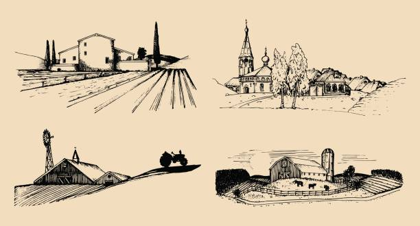 Vector village landscapes illustrations set. Hand drawn russian countryside. Sketches of farm villa,homestead in fields. vector art illustration