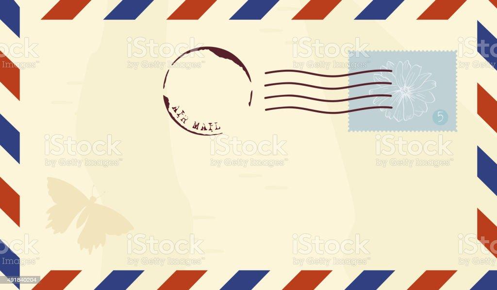 Vektor Vintage Luft Post Umschlag Mit Briefmarke Stock Vektor Art ...