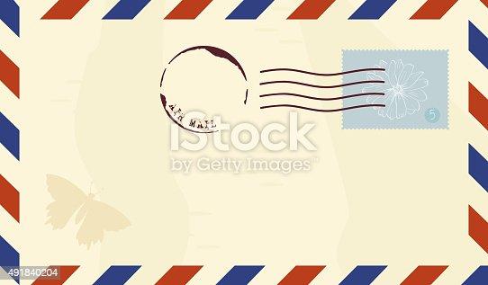 Vector vintage correo a reo sobre con sello postal arte vectorial de stock y m s im genes de for Correo postal mas cercano