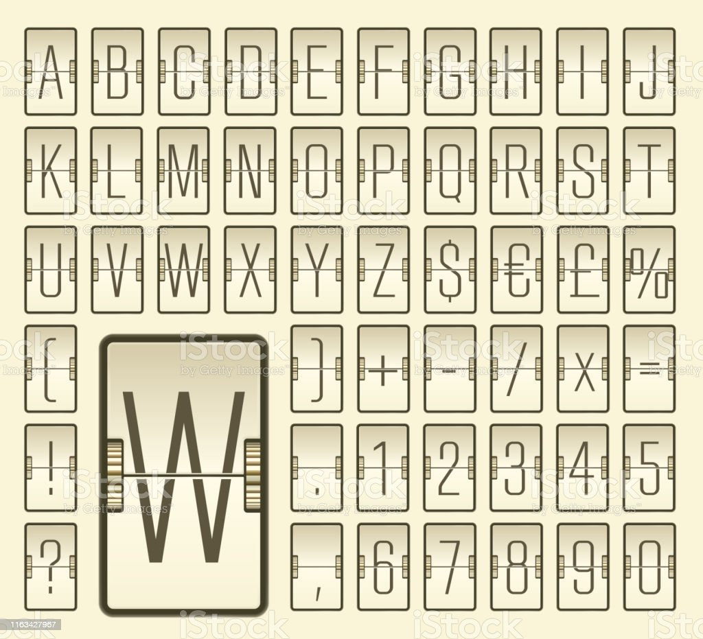 Vector Vintage Airport Terminal Retro Mechanical Scoreboard
