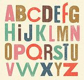 Vector vintage alphabet of sanserif letters