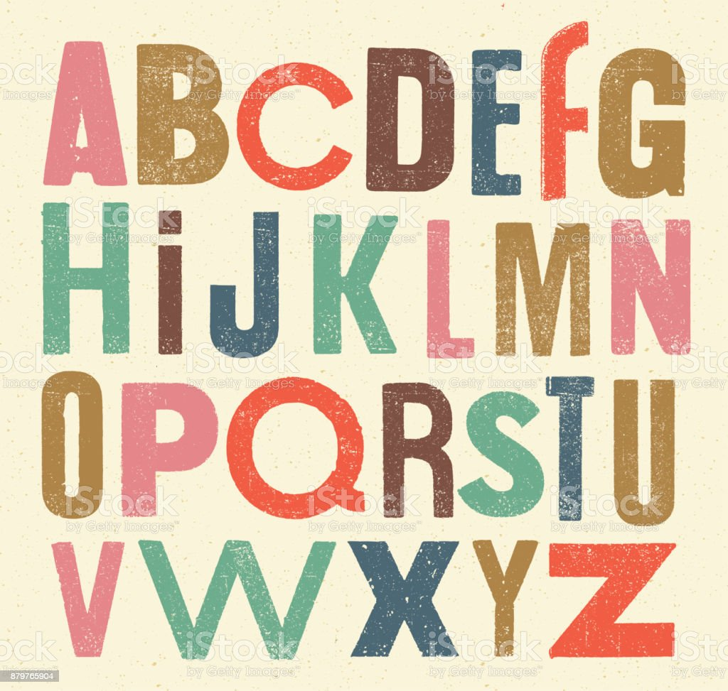 Vector vintage alphabet vector art illustration