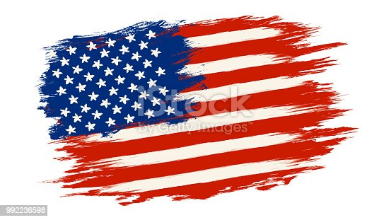 Vector vintage American flag. Vintage flag of USA for an independence day at 4 th july.
