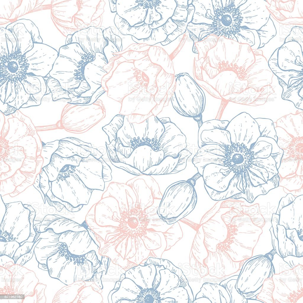 Vector vintage anemone seamless pattern in trendy colors 2016. R royalty-free vector vintage anemone seamless pattern in trendy colors 2016 r stock illustration - download image now
