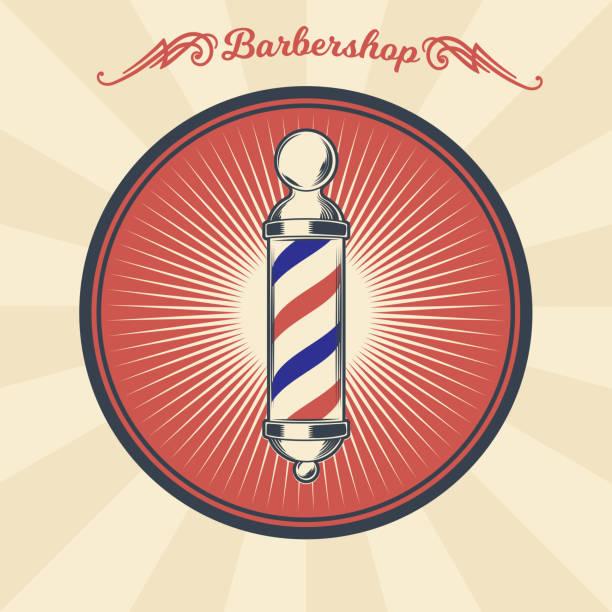 stockillustraties, clipart, cartoons en iconen met vector vintage badge, sticker, teken met kapper winkel paal - kaal geschoren hoofd