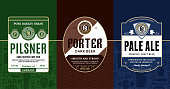 Vector vintage beer labels and packaging design templates. Pale ale, pilsner and porter labels. Brewing company branding and identity design elements.