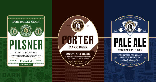 Vector vintage beer labels Vector vintage beer labels and packaging design templates. Pale ale, pilsner and porter labels. Brewing company branding and identity design elements. ijsbeer stock illustrations