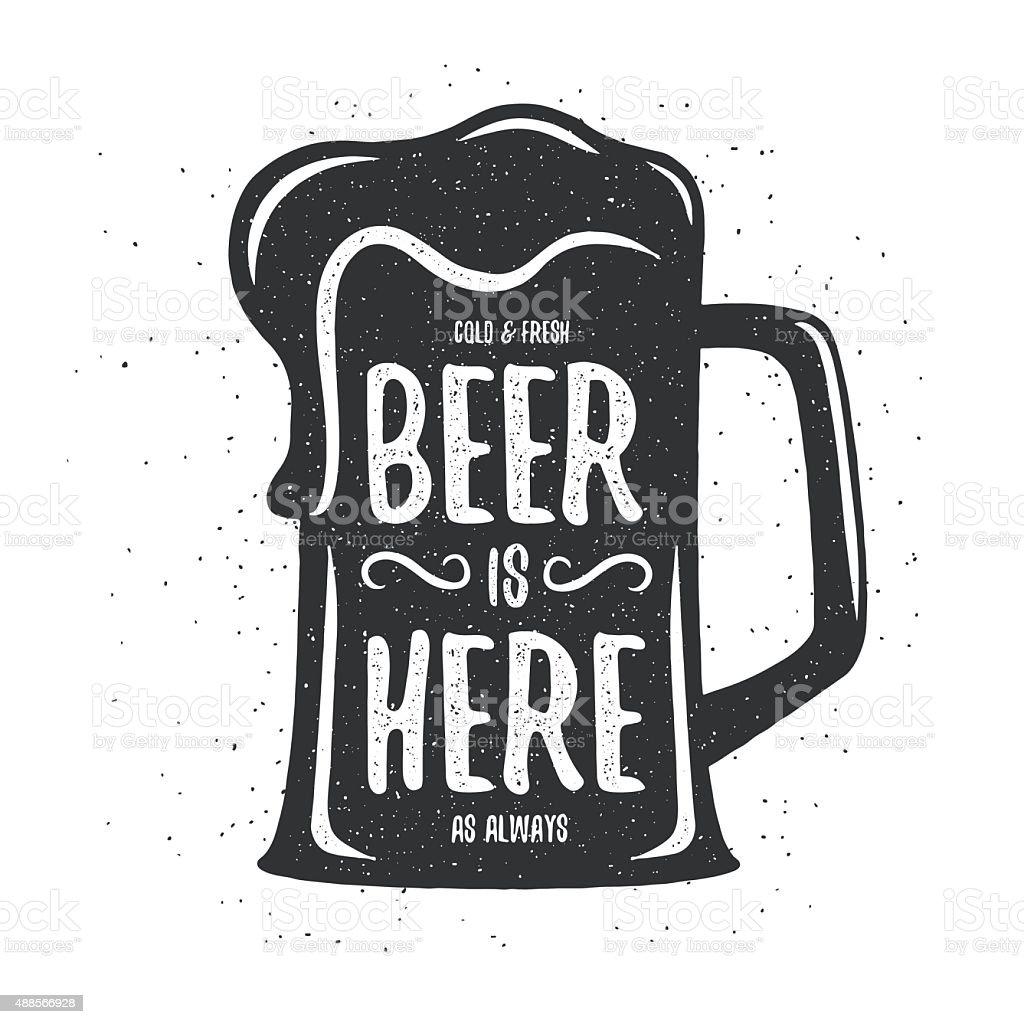 Vector Vintage Beer Print Tshirt Poster Design Stock Illustration