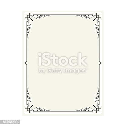 istock Vector vintage border frame engraving with retro ornament pattern in antique rococo style decorative design 855932320