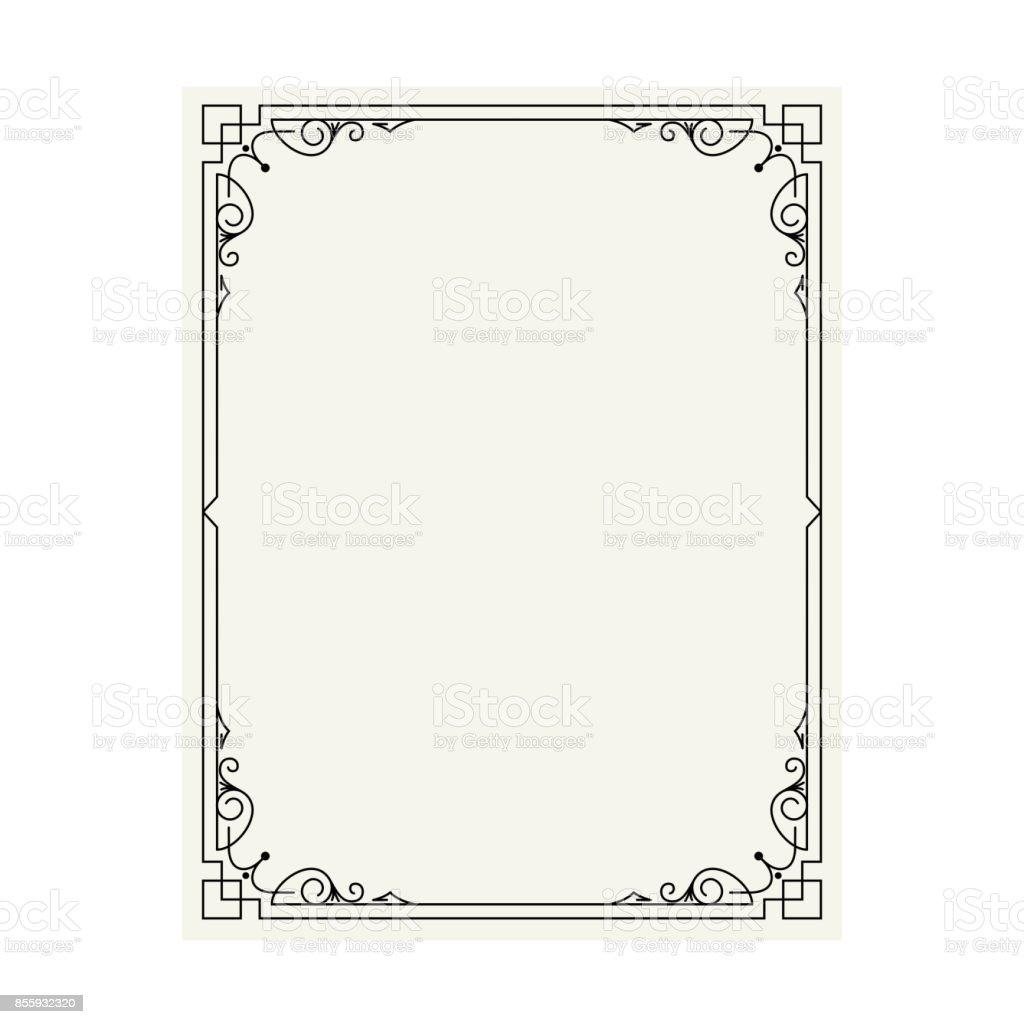 Vector vintage border frame engraving with retro ornament pattern in antique rococo style decorative design vector art illustration