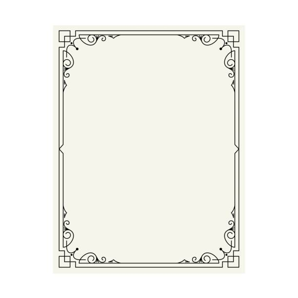 vector vintage border frame engraving with retro ornament pattern in antique rococo style decorative design - book borders stock illustrations