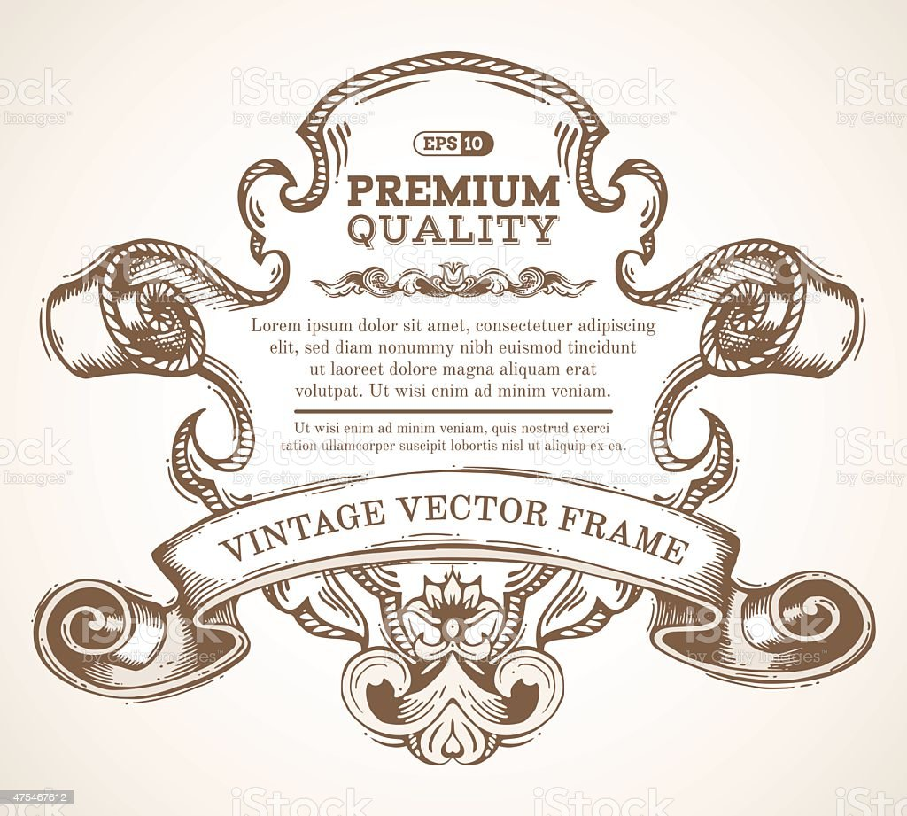 Vector vintage border frame with retro ornament. vector art illustration
