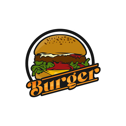 Vector vintage burger label. Hand drawn monochrome fast food illustration. Great for logo element, poster, icon, sticker or label.