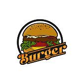 Burger graphic vector image, logo sandwich, lettering.EPS 10