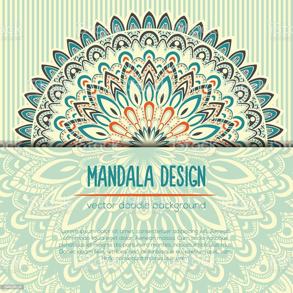Vector vintage business card. Mandala design. Ornamental doodle background. royalty-free vector vintage business card mandala design ornamental doodle background stock vector art & more images of abstract