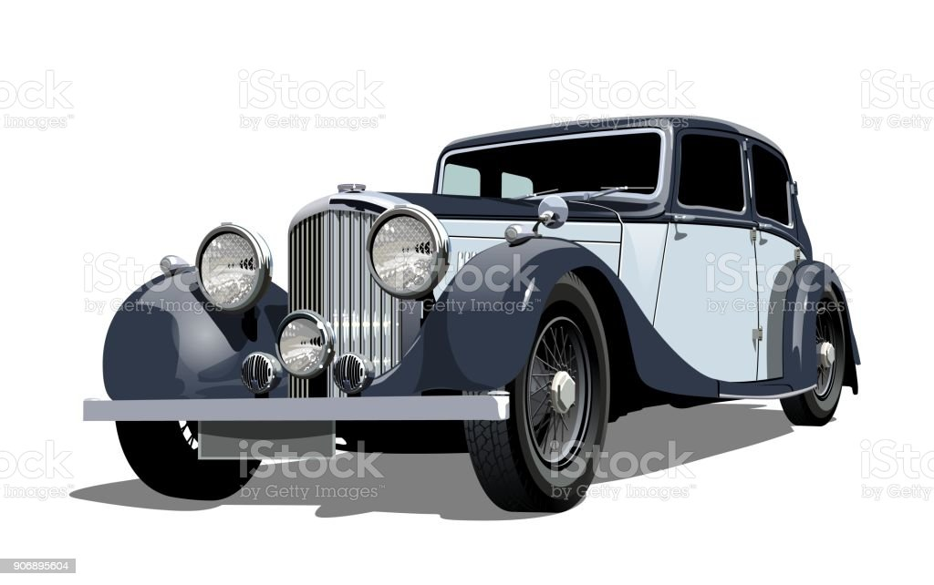 Vector vintage car vector art illustration