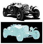 Vector vintage car. Available eps-8 vector format separated by groups and layers for easy edit