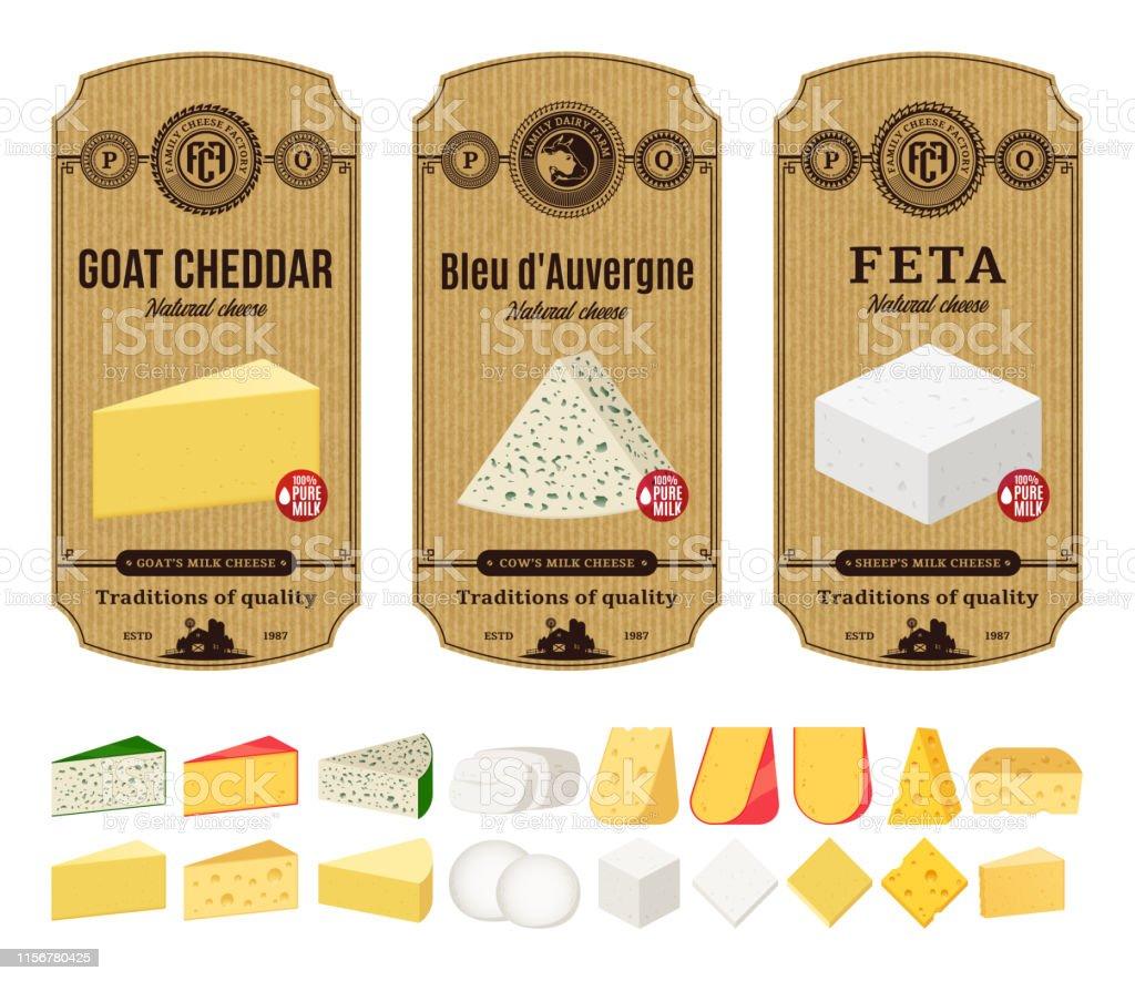 Étiquettes de fromage vintage Vector et différents types de fromages icônes détaillées étiquettes de fromage vintage vector et différents types de fromages icônes détaillées vecteurs libres de droits et plus d'images vectorielles de affaires libre de droits