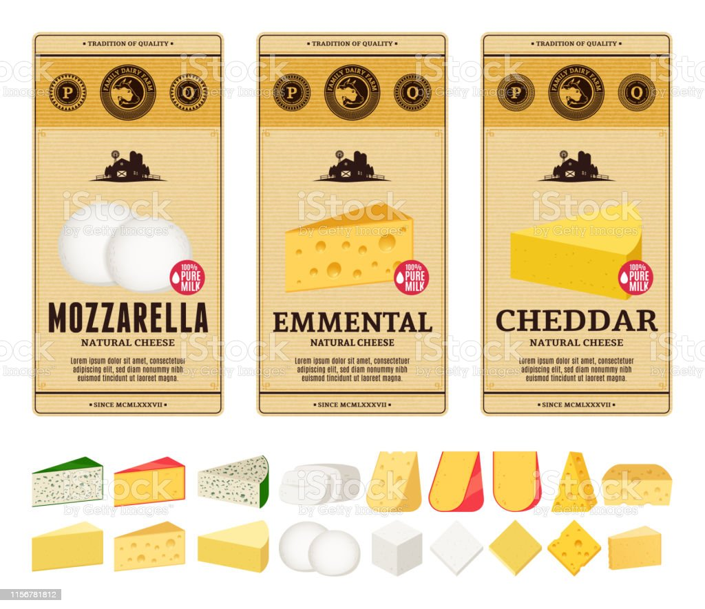 Vector Vintage Cheese Labels And Different Types Of Cheese