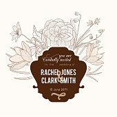 Vector Vintage Chocolate Brown Frame Floral Drawing Wedding Invitation With Stylish Retro Flowers and Text In Classic Design. Perfect for invinations, packaging, announcements, menu, scrapbooking.