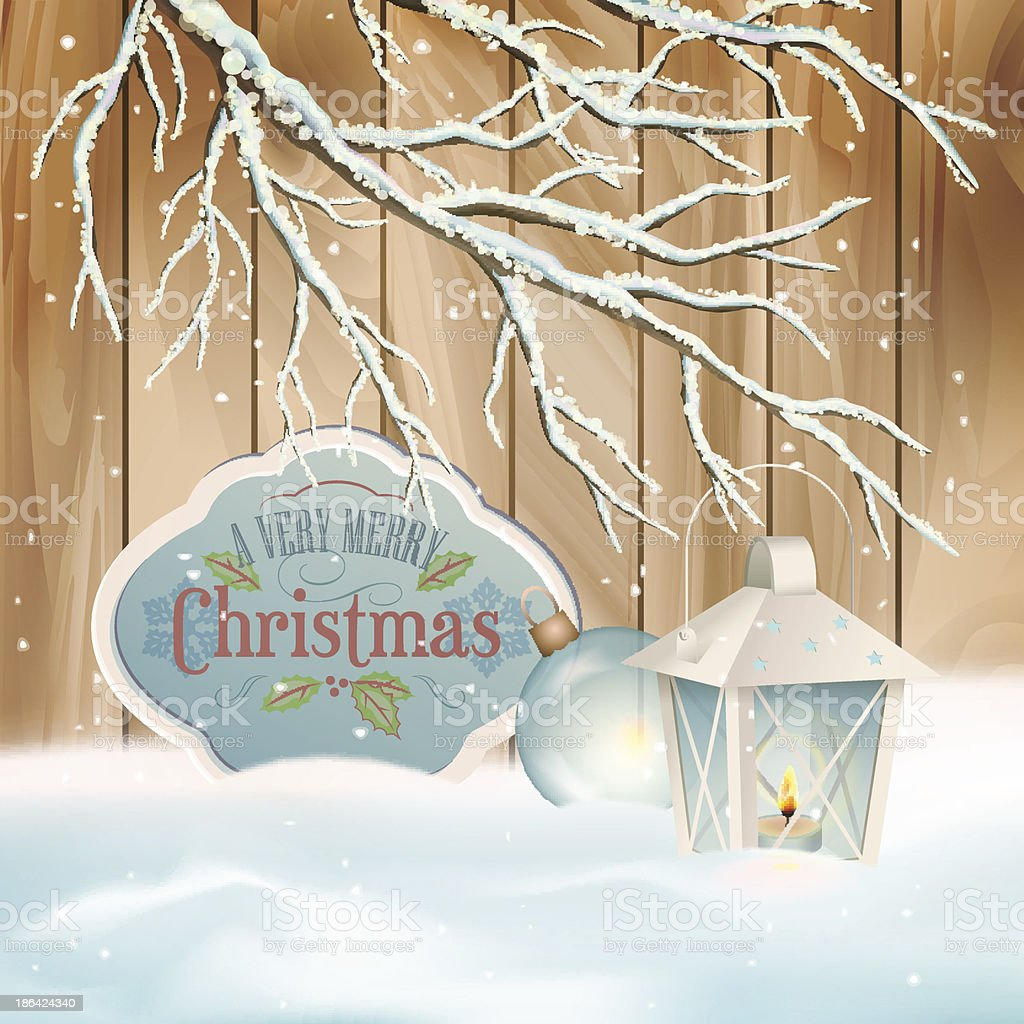 Vector Vintage Christmas Branch Lantern Background royalty-free stock vector art