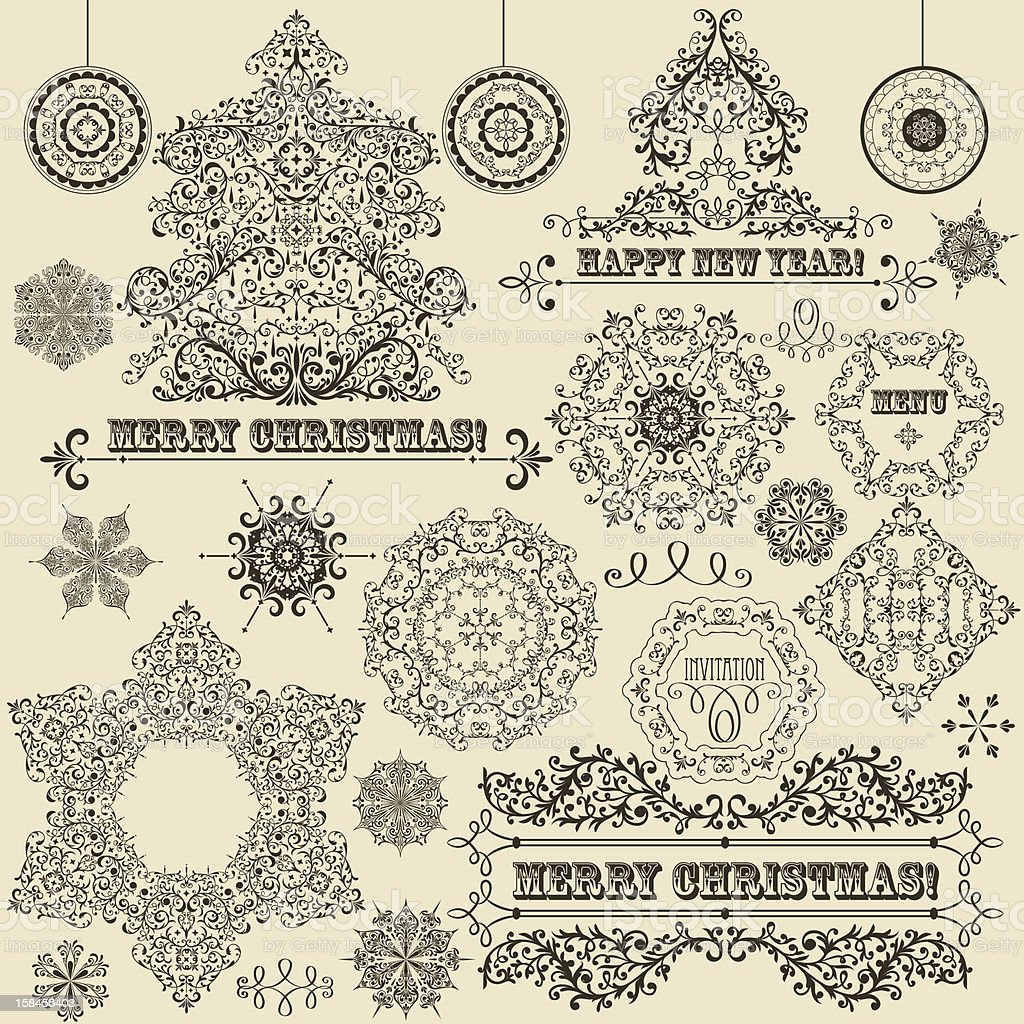 Vector Vintage Christmas Design Elements royalty-free vector vintage christmas design elements stock vector art & more images of abstract