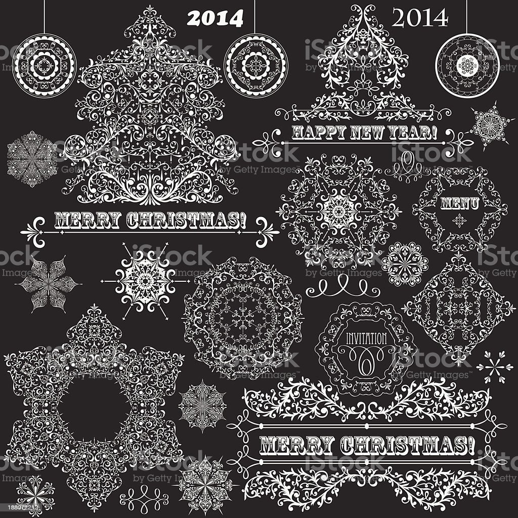 Vector Vintage Christmas Design Elements vector art illustration