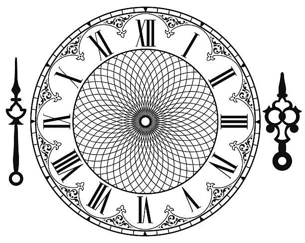 vector vintage clock - clock face stock illustrations, clip art, cartoons, & icons