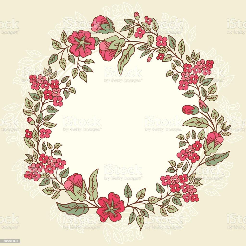 Vector Vintage Doodle Red Flowers Frame Retro Srtiped Background Story Flower Shabby Rose 3 Royalty Free