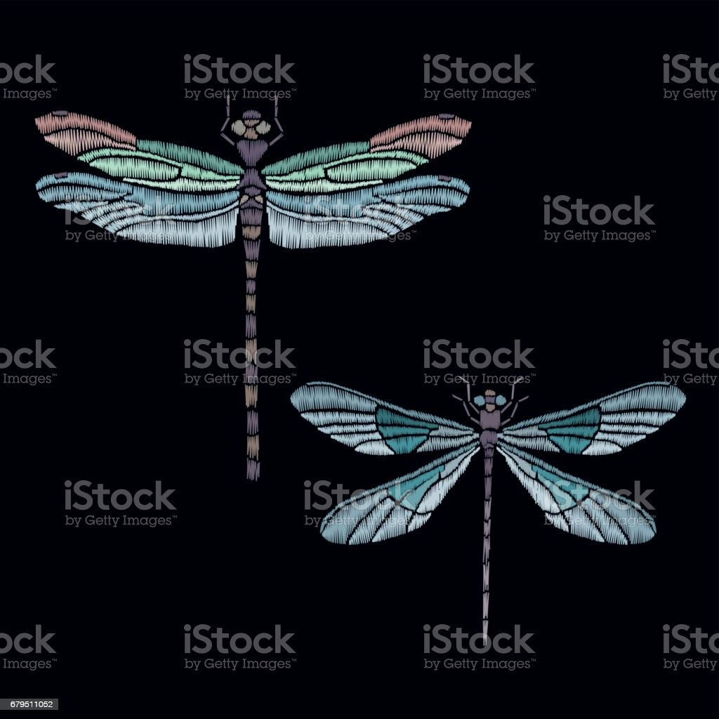 Vector vintage dragonfly or butterfly, decorative element for embroidery, patches and stickers royalty-free vector vintage dragonfly or butterfly decorative element for embroidery patches and stickers stock vector art & more images of abstract