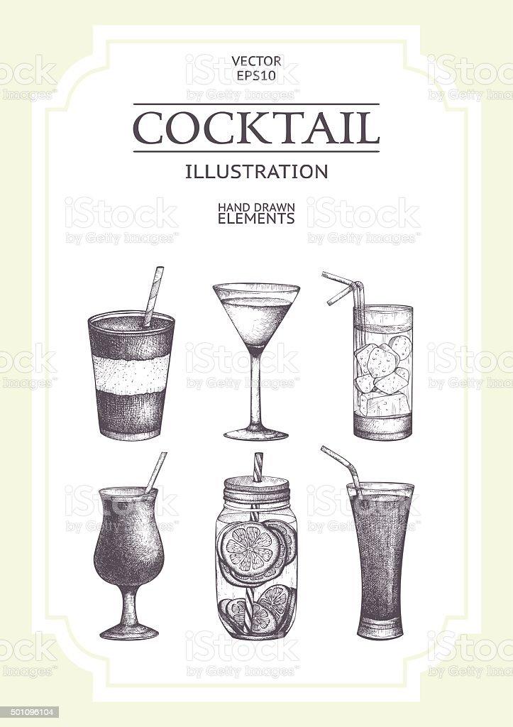 Vector vintage drinks illustration collection vector art illustration