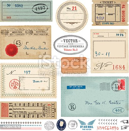 Set of vintage ephemera.Tickets, postage stamps,rubber stamps,labels,tags and envelope.EPS 10 file with transparencies.File is layered with global colors.