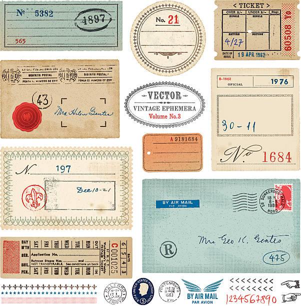 벡터 빈티지 ephemera - 오래된 stock illustrations