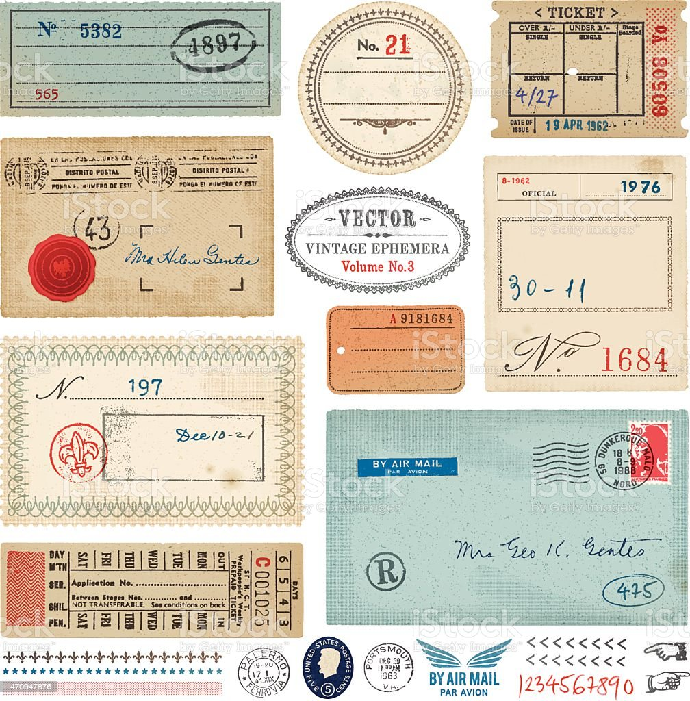 Vector Vintage Ephemera vector art illustration