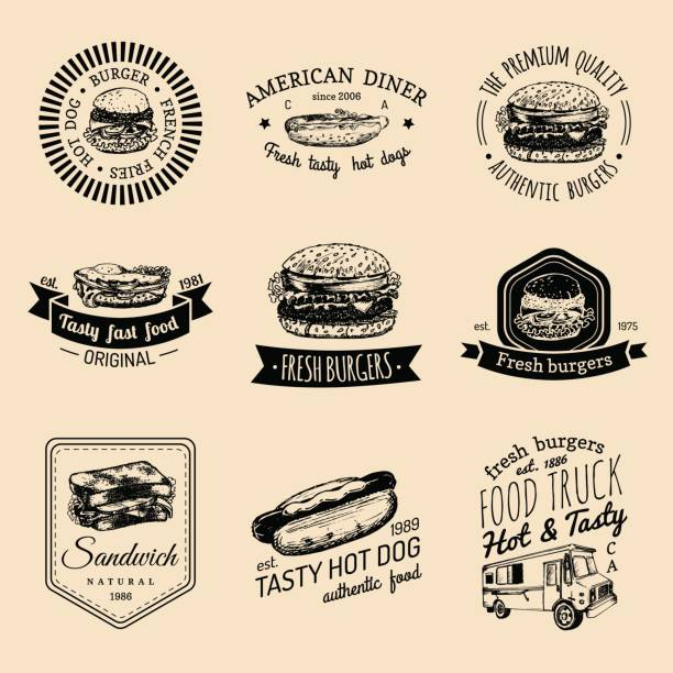 vector vintage fast food badges set. retro quick meal signs collection. bistro, snack bar, street restaurant, diner icons. - delis stock illustrations