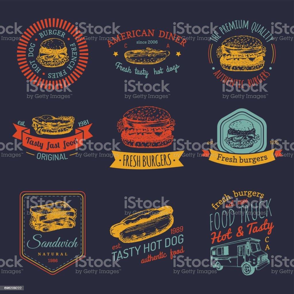 Vector vintage fast food badges set. Retro quick meal signs collection. Bistro, snack bar, street restaurant, diner icons. vector art illustration