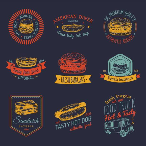 ilustrações, clipart, desenhos animados e ícones de conjunto de emblemas de vetor vintage fast-food. coleção de sinais retrô refeição rápida. restaurante, snack-bar, restaurante rua, ícones de lanchonete. - delicatessen