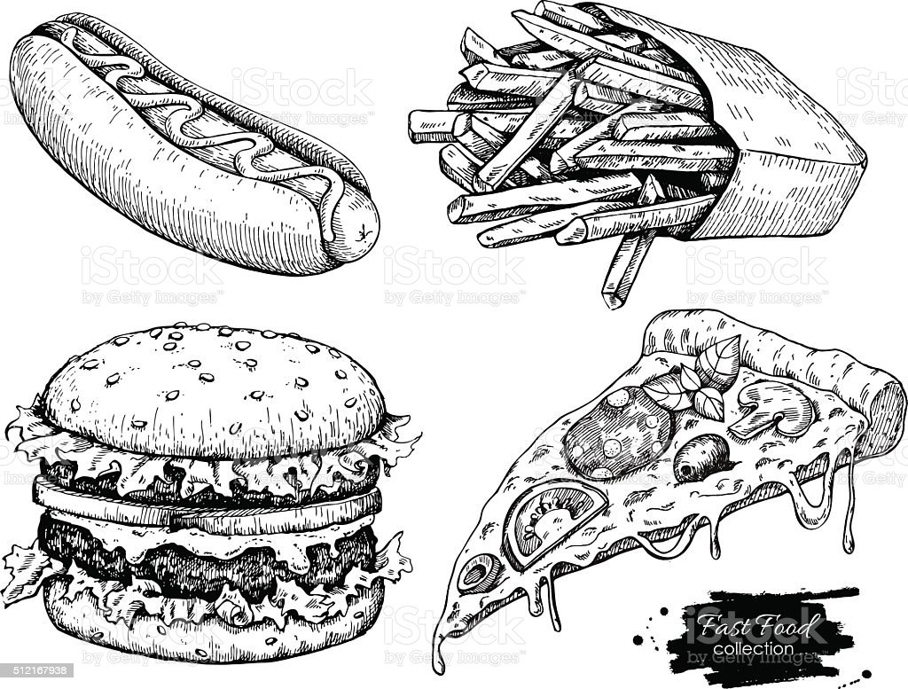Dessins de fast-food Vintage Vector ensemble. - Illustration vectorielle
