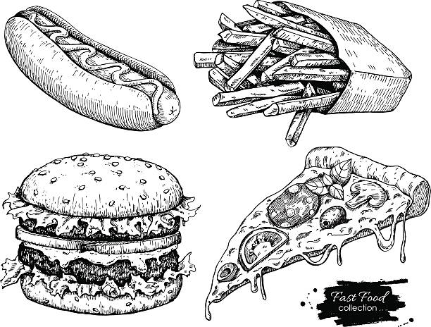 Vector vintage fast food drawing set. Vector vintage fast food drawing set. Hand drawn monochrome junk food illustration. Great for menu, poster or label. french fries stock illustrations