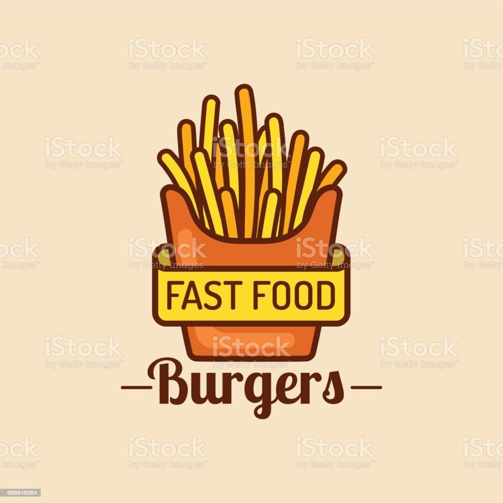 Vector Vintage Fast Food Icon Retro Fry Potatoes Sign Bistro Icon ...