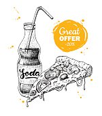 Vector vintage fast food special offer. Hand drawn monochrome junk food illustration. Soda and pizza slice. Great for poster, banner, voucher, coupon, business promote.