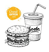 Vector vintage fast food special offer. Hand drawn monochrome junk food illustration. Soda and burger. Great for poster, banner, voucher, coupon, business promote.