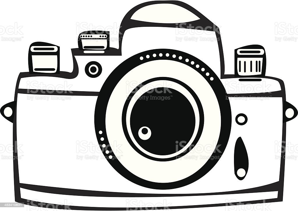 Camera Vintage Vector Free : Vector vintage film photo camera isolated on white background stock