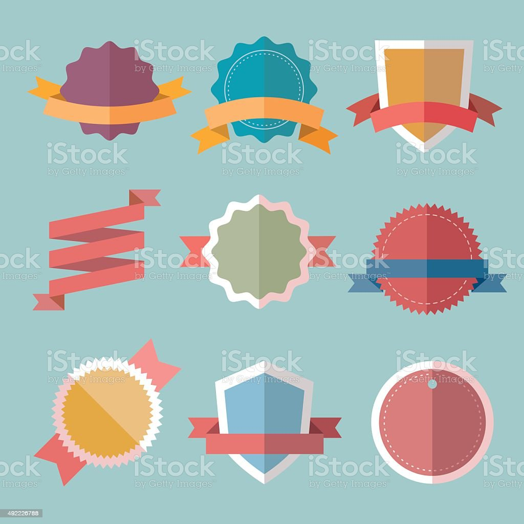 Vector vintage flat badges and color labels. vector art illustration