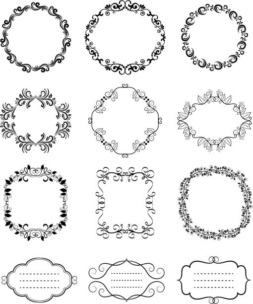 ilustrações, clipart, desenhos animados e ícones de quadros florais vetor vintage ornamentais - molduras de certificados e premiações