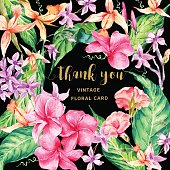 Vector vintage floral tropical Thank You card. Exotic flowers, twigs and leaves. Botanical bright classic illustration in watercolor style.